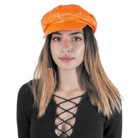 CASQUETTE DISCO SEQUIN NEON ORANGE