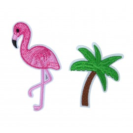 SET DE DEUX BROCHES FLAMANT ROSE PALMIER