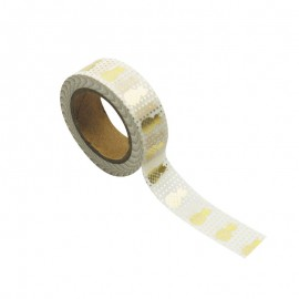 Washi tape blanc ananas or