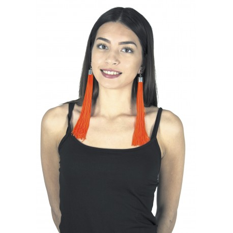 BOUCLES D'OREILLE FRANGES NEON ORANGE