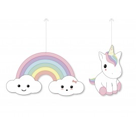 SET DE 2 DECORATIONS BABY LICORNE A SUSPENDRE