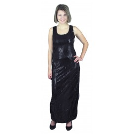 ROBE GLAMOUR SEQUINS NOIRS