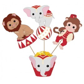SET DE 3 CAKE TOPPERS VINTAGE CIRCUS