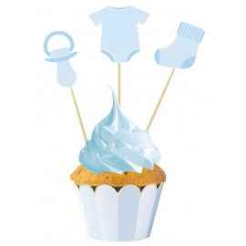 SET DE 3 CAKE TOPPERS BABY BLUE