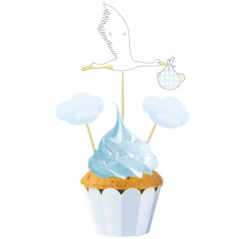 SET DE 3 CAKE TOPPERS ROSE OU CHOU BLEU