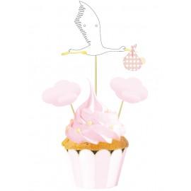 SET DE 3 CAKE TOPPERS ROSE OU CHOU ROSE