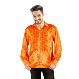 CHEMISE DISCO SATIN ORANGE XL