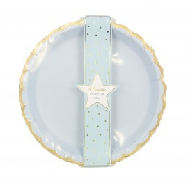 ASSIETTES FESTONNEES 23CM BLEU PASTEL ET OR X 8