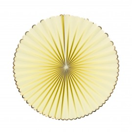 SET DE 3 EVENTAILS JAUNE PASTEL ET OR