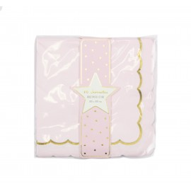 SERVIETTES FESTONNEES 33X33CM ROSE PASTEL ET OR X 16
