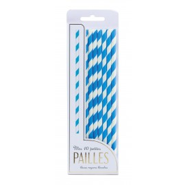 SET 10 PAILLES BLEUES RAYURES BLANCHES