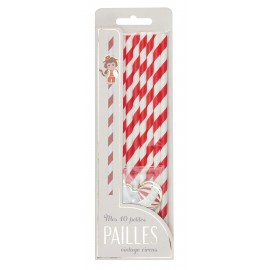 SET 10 PAILLES BLANCHES RAYEES ROUGE VINTAGE CIRCUS