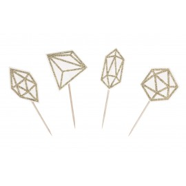 4 CAKE TOPPERS DIAMANTS OR