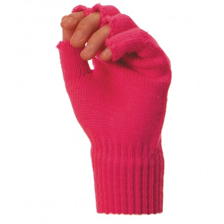 MITAINES TRICOT ROSE FLUO