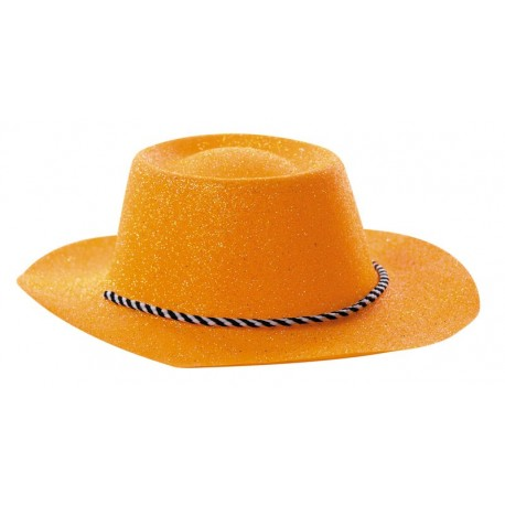CHAPEAU COWBOY PAILLETTE ORANGE