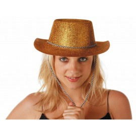 Chapeau cowboy paillette or