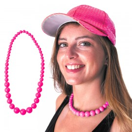 COLLIER PERLE NEON ROSE