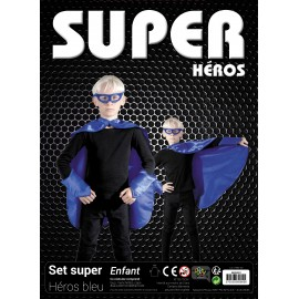SET SUPER HEROS ENFANT BLEU