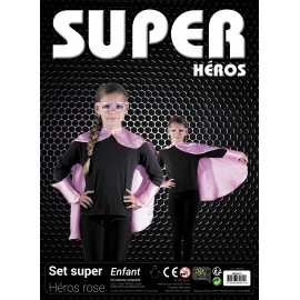 SET SUPER HEROS ENFANT ROSE