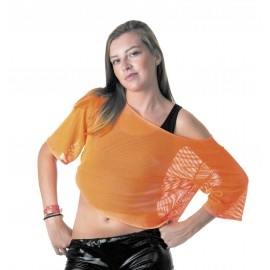 TEE-SHIRT FISHNET 80'S ORANGE FLUO