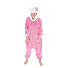 COSTUME KIGURUMI CHAT ROSE ADULTE