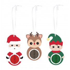 SET DE 3 DECORATIONS ALVEOLEES SWEETY XMAS