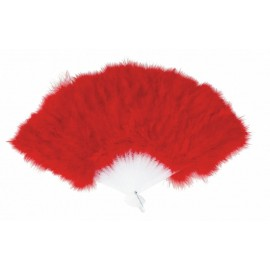 Eventail plumes rouge