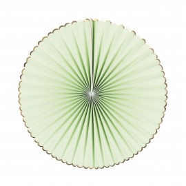 SET DE 3 EVENTAILS VERT PASTEL ET OR