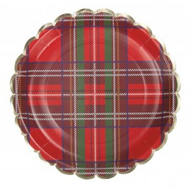 ASSIETTES FESTONNEES 23CM TARTAN ET OR X 8