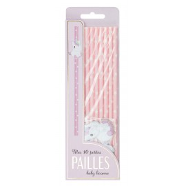 SET 10 PAILLES ROSES BABY LICORNE