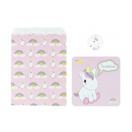 SET 8 INVITATIONS BABY LICORNE