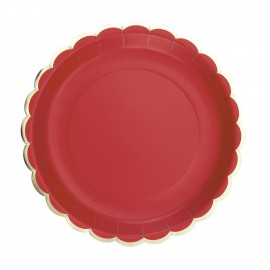 ASSIETTES FESTONNEES 23CM ROUGES ET OR X 8