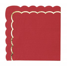 SERVIETTES FESTONNEES 33X33CM ROUGES ET OR X 16