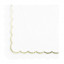 SERVIETTES FESTONNEES 33X33CM BLANCHES ET OR X 16