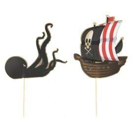 SET DE 6 DECORATIONS PIRATES POUR GATEAUX