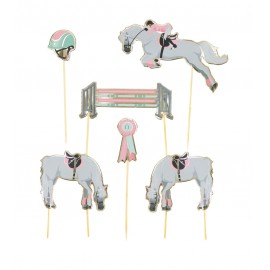 SET DE 6 DECORATIONS CHEVAL POUR GATEAUX