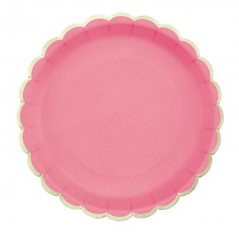 ASSIETTES FESTONNEES 23CM NEON PINK ET OR X 8