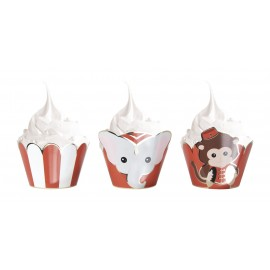 CUPCAKES WRAPPERS VINTAGE CIRCUS X6