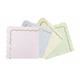 SERVIETTES FESTONNEES 33X33CM PASTEL ASSORTIES ET OR X 16